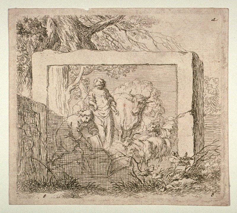 "Shepherd, Shepherdess and Livestock, from The Set of the Sheep, the so-called ""Woman's Book"" (Animalia ad vivum delineata, et aqua forti ceri impressa, Studio et arte Nicolai Berchemi)"