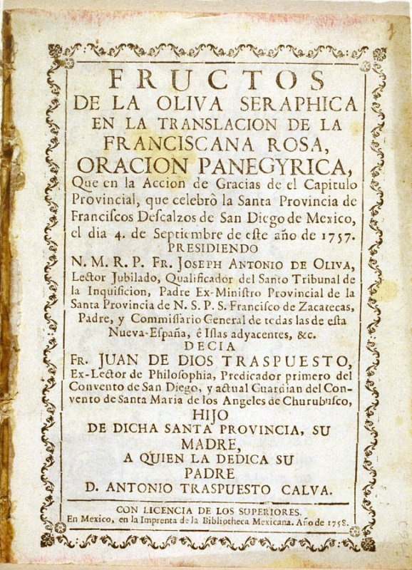 Untitled (Franciscan friar), from the first page of a panegyric oration in a celebration by the barefoot Franciscans of San Diego of Mexico on 4 September 1757