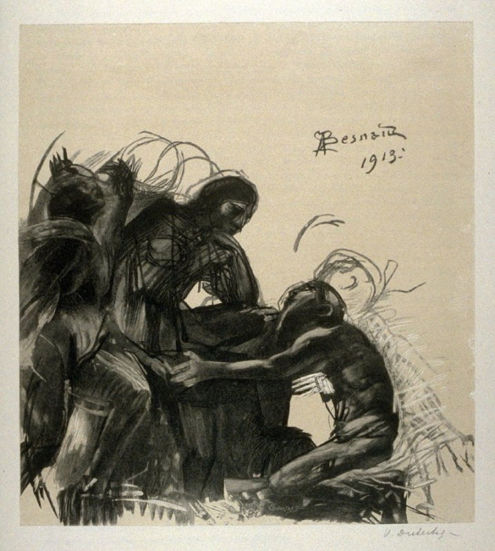 [Man kneeling in front of seated woman] from the portfolio Les Cartons d'estampes gravées sur bois, oeuvrage corporative (Portfolio of wood engravings after works of various French artists)