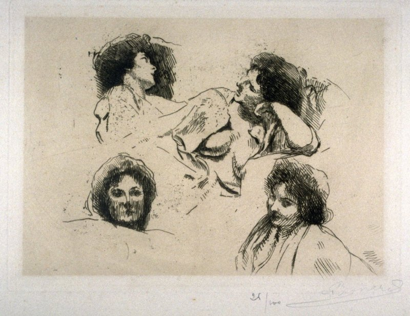 Studies of Four Women's Heads (study for l'Ile Heureuse)