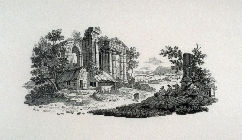 Farmhouse in front of classical ruins