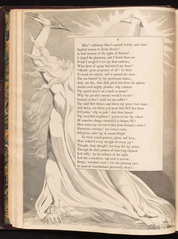 """""""Death! great proprietor of all..."""" on page 8, fifth plate in the book The Complaint and the Consolation, or Night Thoughts by Edward Young (London: Richard Edwards, 1797)"""