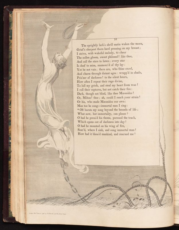 """Oft bursts my song..."" on page 16, tenth plate in the book The Complaint and the Consolation, or Night Thoughts by Edward Young (London: Richard Edwards, 1797)"