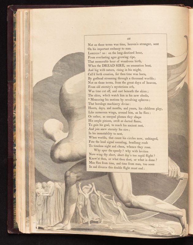"""""""Measuring his motions..."""" on page 26, sixteenth plate in the book The Complaint and the Consolation, or Night Thoughts by Edward Young (London: Richard Edwards, 1797)"""