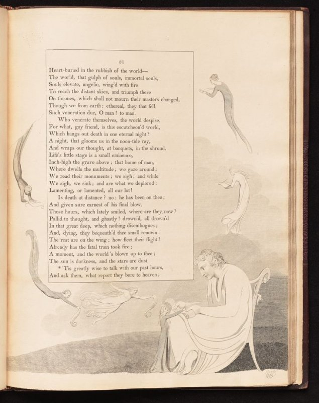 """""""Tis greatly wise..."""" on page 31, eighteenth plate in the book The Complaint and the Consolation, or Night Thoughts by Edward Young (London: Richard Edwards, 1797)"""