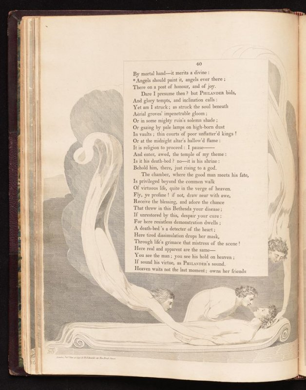 """""""Angels should paint it...."""" on page 40, twenty-second plate in the book The Complaint and the Consolation, or Night Thoughts by Edward Young (London: Richard Edwards, 1797)"""