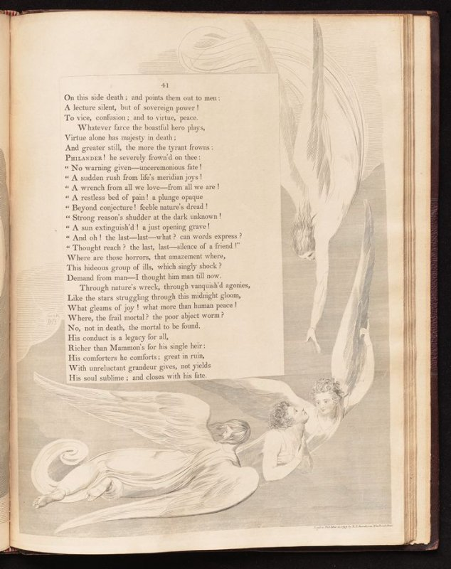 """[""""What gleams of joy....""""] on page 41, twenty-third plate in the book The Complaint and the Consolation, or Night Thoughts by Edward Young (London: Richard Edwards, 1797)"""