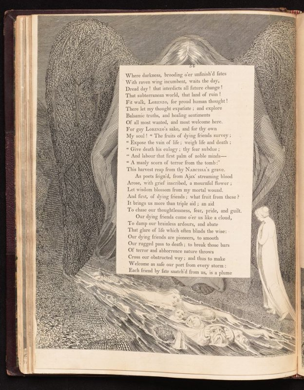 "[""Our dying friends...""] on page 54, twenty-seventh plate in the book The Complaint and the Consolation, or Night Thoughts by Edward Young (London: Richard Edwards, 1797)"