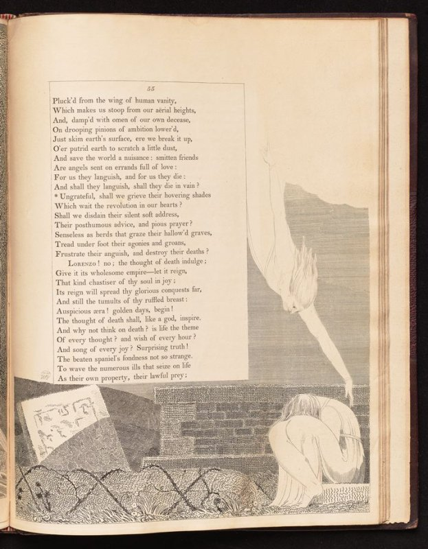 """[""""Ungrateful, shall we grieve...""""] on page 55, twenty-eighth plate in the book The Complaint and the Consolation, or Night Thoughts by Edward Young (London: Richard Edwards, 1797)"""