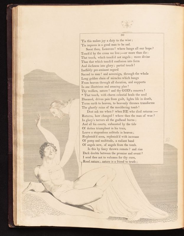 """""""That touch, with charm celestial..., on page 90, fortieth plate in the book The Complaint and the Consolation, or Night Thoughts by Edward Young (London: Richard Edwards, 1797)"""