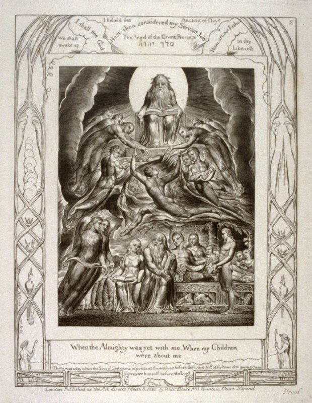 "Plate 2: ""When the Almighty was yet with me.."" from complete proof edition of Blake's 'Book of Job'"