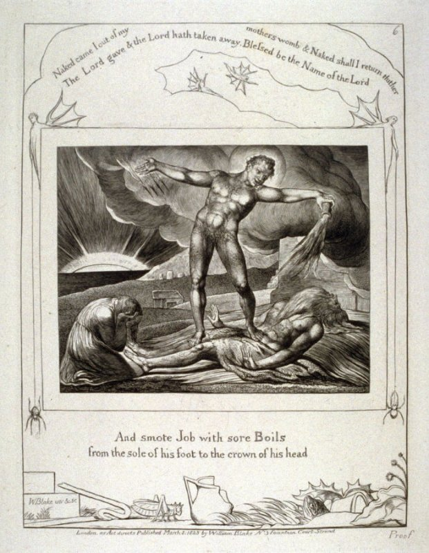"""Plate 6: """"And smote Job with sore boils"""" from complete proof edition of Blake's 'Book of Job'"""