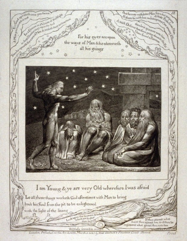 "Plate 12: ""I am young and ye are very old"" from the complete proof edition of Blake's 'Book of Job'"