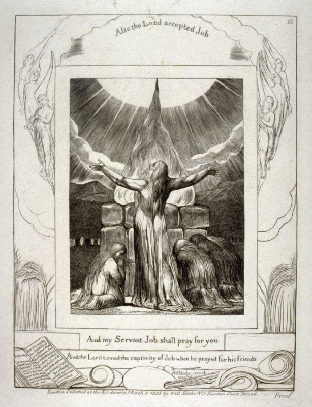 """Plate 18: """"And my servant Job shall pray for you"""", from the complete proof edition of Blake's 'Book of Job'"""