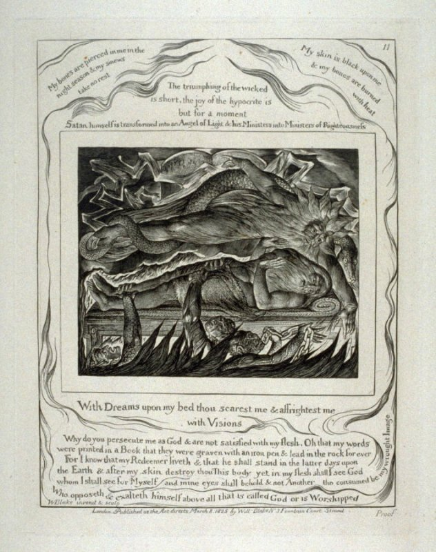 "Plate 11: ""With dreams upon my bed thou scarest me and afrightest me with visions"" from complete proof edition of Blake's 'Book of Job'"