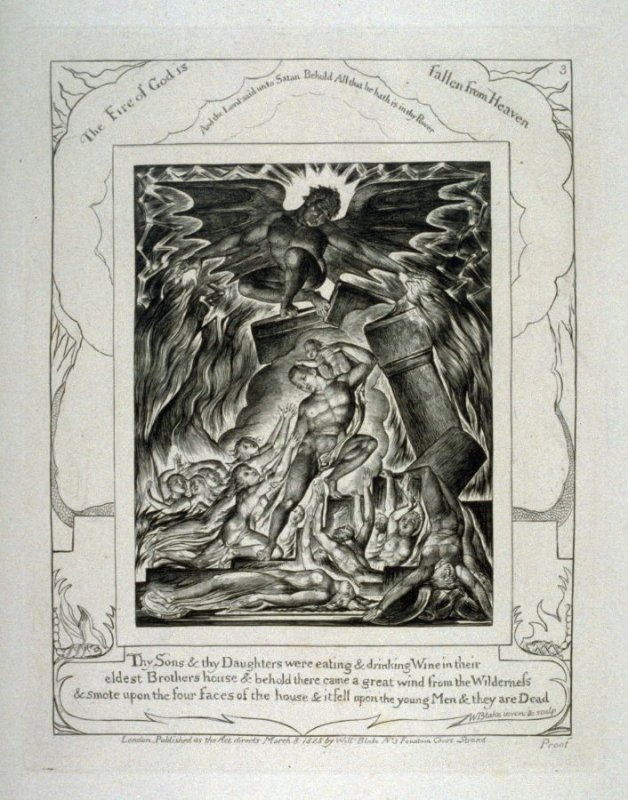 """Plate 3: """"The Fire of God is Fallen from Heaven,"""" from complete proof edition of Blake's 'Book of Job'"""