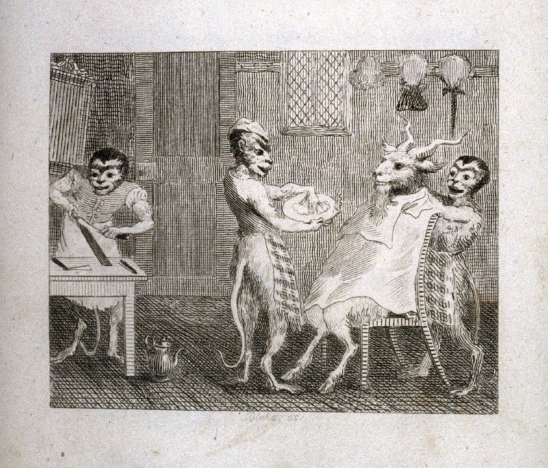 The Goat Without a Beard, opposite page 99 in the book, Fables by John Gay (London: John Stockdale, 1793), Vol. 1