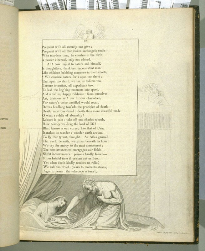 """""""We censure nature..."""" on page 23, thirteenth plate in the book The Complaint and the Consolation, or Night Thoughts by Edward Young (London: Richard Edwards, 1797)"""