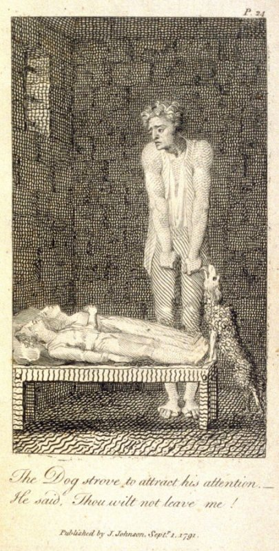The Dog Strove to Attract his Attention…, plate opposite p. 24 in the book Original Stories from Real Life … to… Form the Mind to Truth and Goodness by Mary Wollstonecraft (London: J. Johnson, 1791)