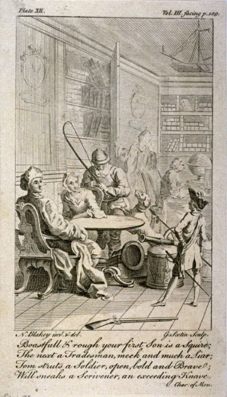 Boastfull and rough your first Son is a Squire, The next a Tradesman, meek and much a Liar,....etc., from The Works of Alexander Pope (London, 1751), vol. 3, plate 12