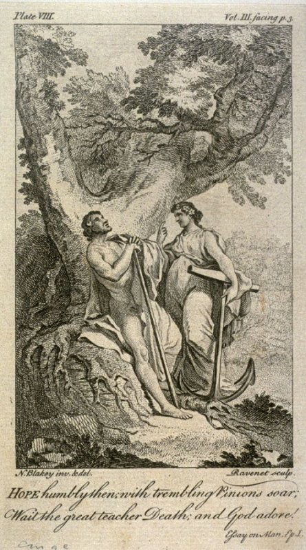 Hope humbly then; with trembling Pinions soar, from The Works of Alexander Pope (London, 1751), vol. 3, plate 8