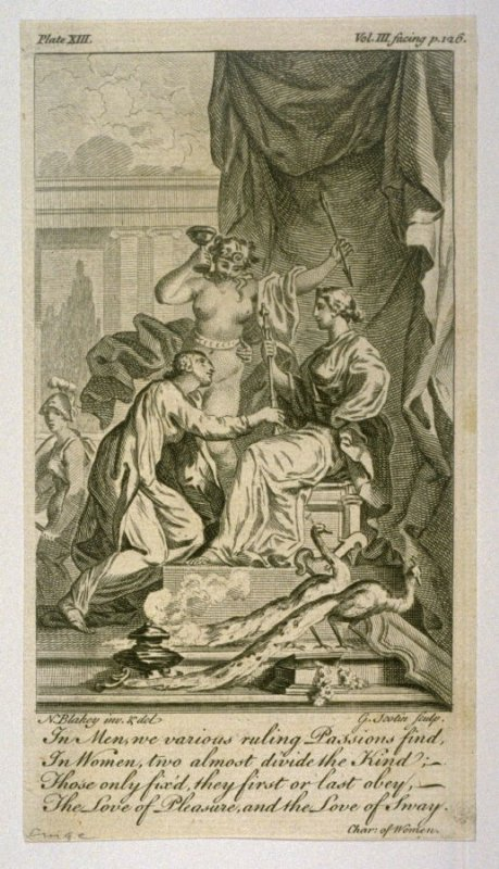 In Men we various ruling Passions find, In Women, two almost divide the Kind,....etc., from The Works of Alexander Pope (London, 1751), vol. 3, plate 13