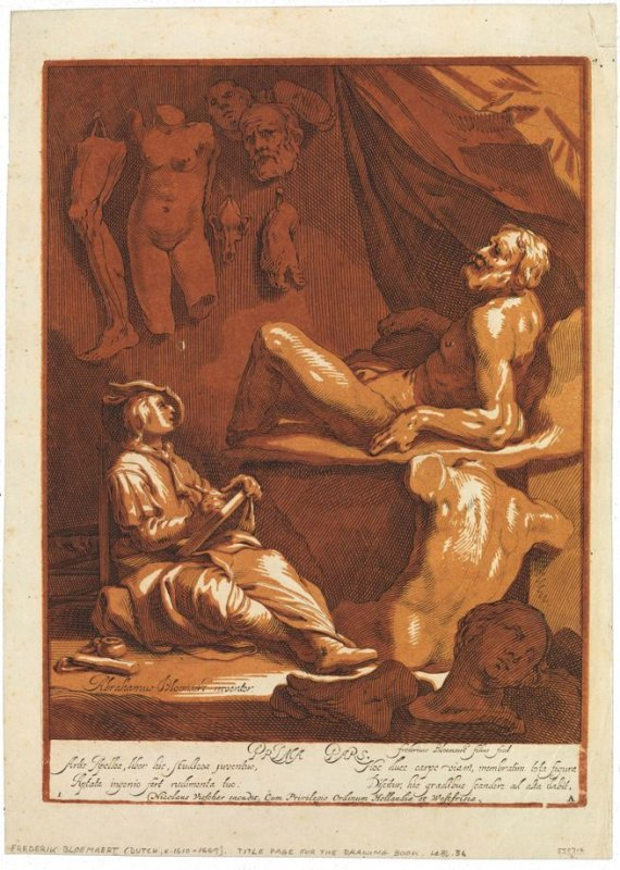 Student Drawing from a Cast. Title page for the Tekenboek (Drawing Book) of Abraham Bloemaert