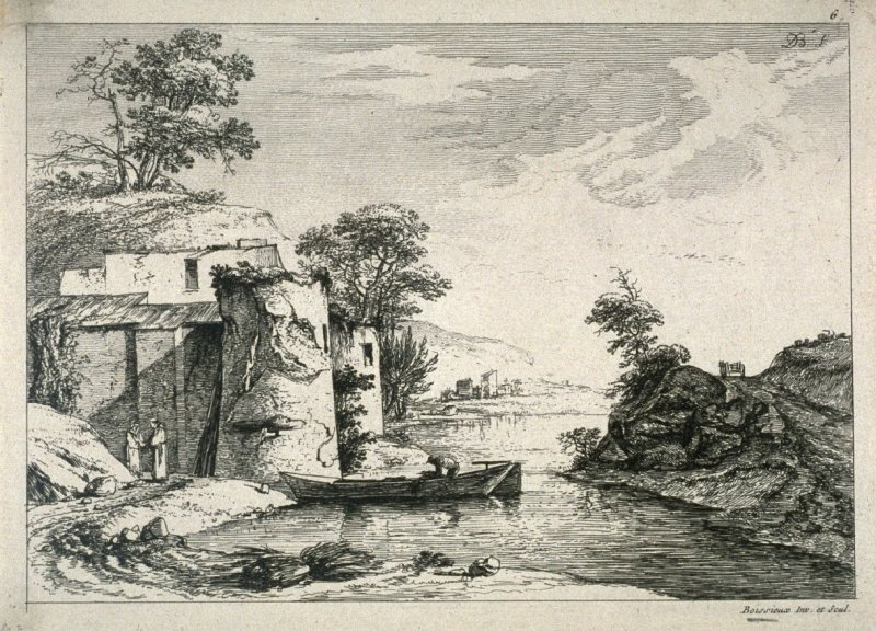 (Landscape with two monks, and a man in a boat)