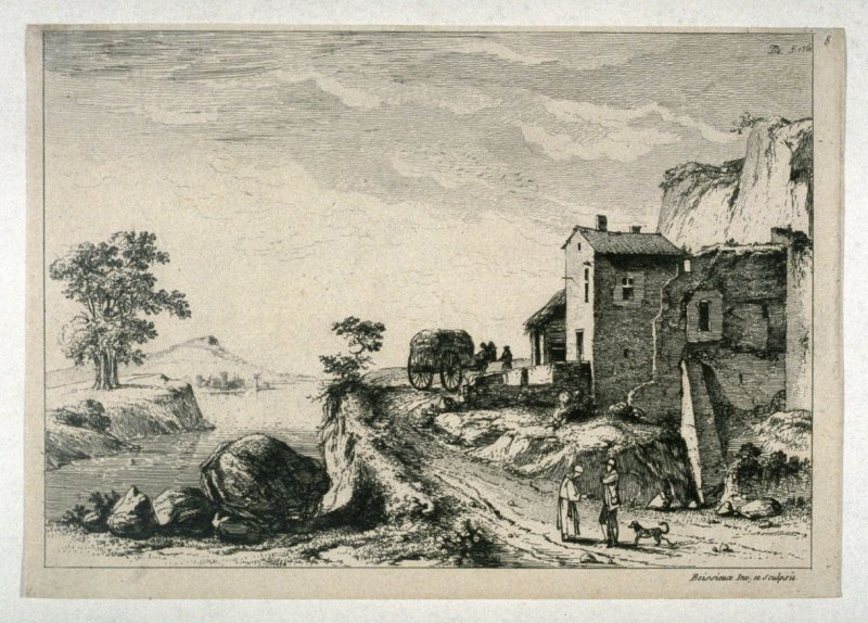 (Landscape with two figures, a dog, and cart of hay in the road)