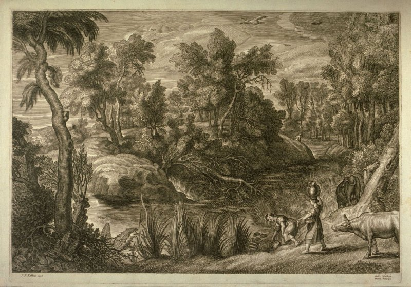 Wooded landscape with two girls, cattle and fishermen