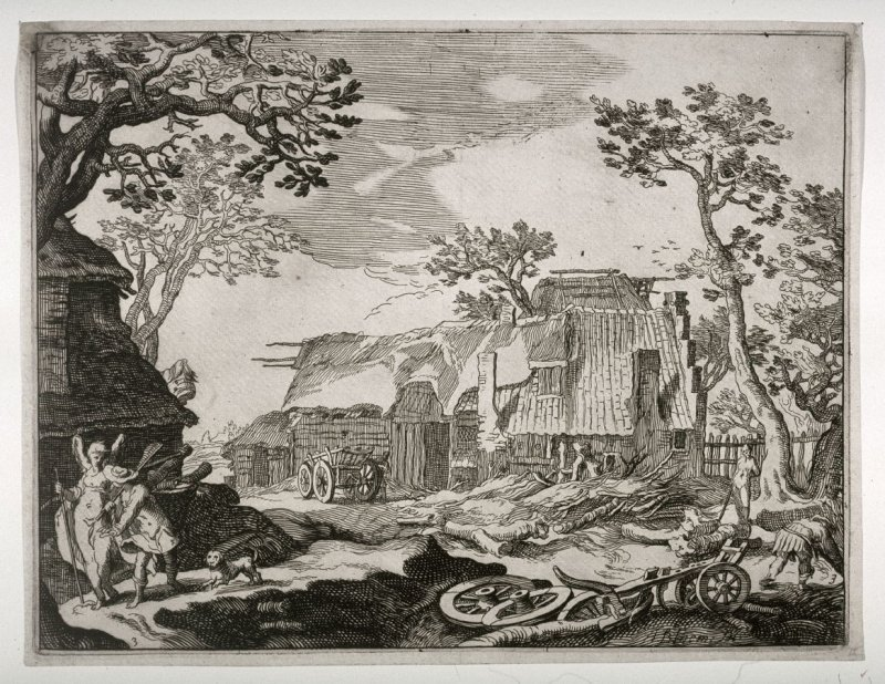 Farmyard with Tobias and the Angel, from a set of four large rural views (copy in reverse)