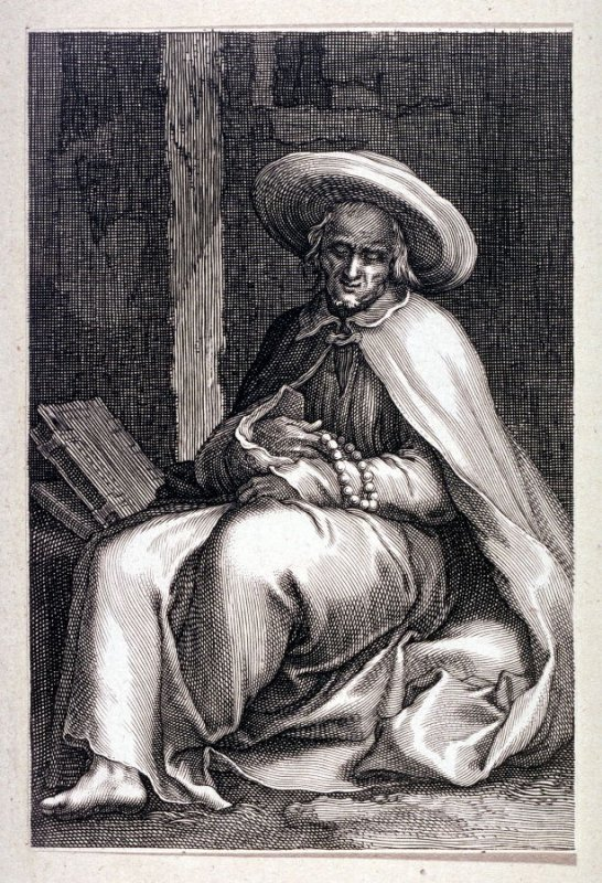 St. John in Lyco (St. Paphnutius) (from a series of 25 engravings of the Hermits)