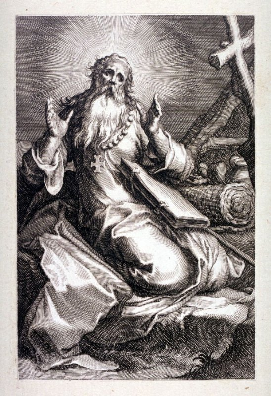 St. Abraham (St. Spiridon) (Plate 11 from a series of 25 engravings of the Hermits)