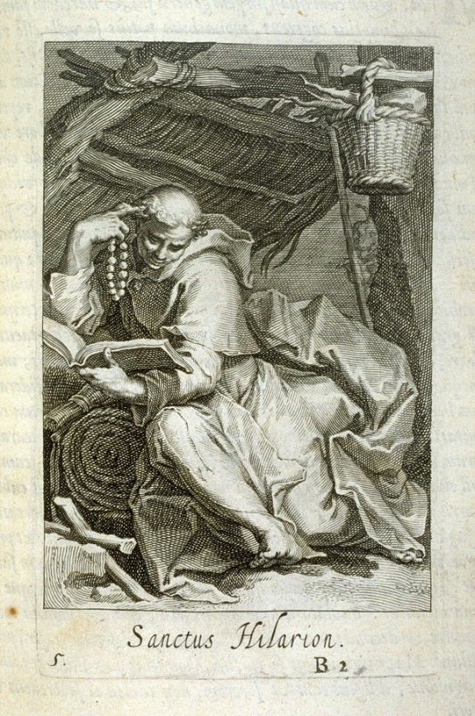 St. Hilarion. Sanctus Hilarion, plate 5 in the first series in the book, Sylva Anachoretica Aegypti et Palaestinae (Antwerp: Hendrik Aerts,1619) [ containing two series, Sacra Eremus Ascetarum and Sacra Eremus Ascetriarum]