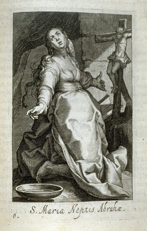 St. Mary Niece of Abraham. S. Maria Neptis Abrahæ, plate 6 in the second series in the book, Sylva Anachoretica Aegypti et Palaestinae (Antwerp: Hendrik Aerts,1619) [containing two series, Sacra Eremus Ascetarum and Sacra Eremus Ascetriarum]