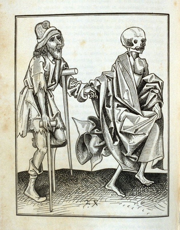 Death and the Beggar, opposite page 223 in the book The Dance of Death … with a dissertation by Francis Douce (London: William Pickering, 1833)