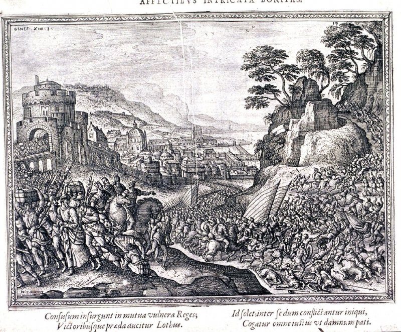 Various camps of soldiers in front of a town in a valley