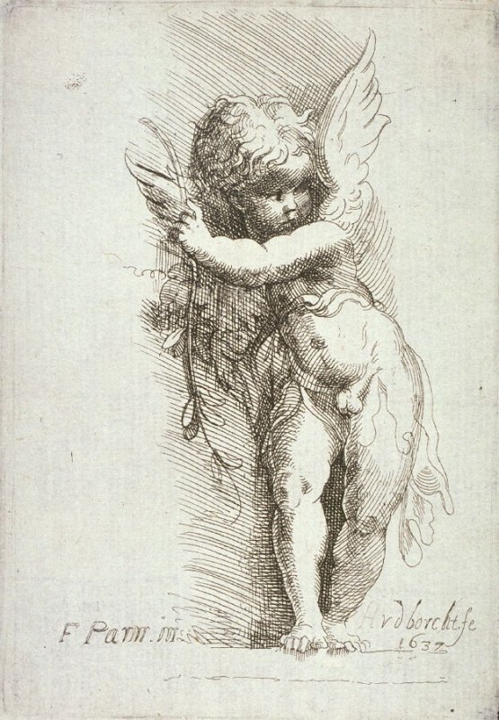 Five Emblematic Prints: (2) Ornament in form of winged child