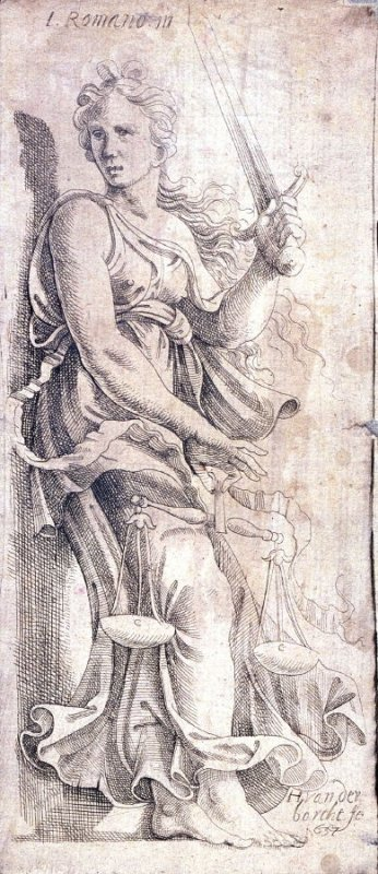 Five Emblematic Prints: (4) Figure of woman with scales and sword