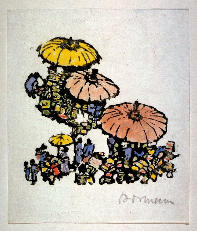 [Figures carrying colored umbrellas]