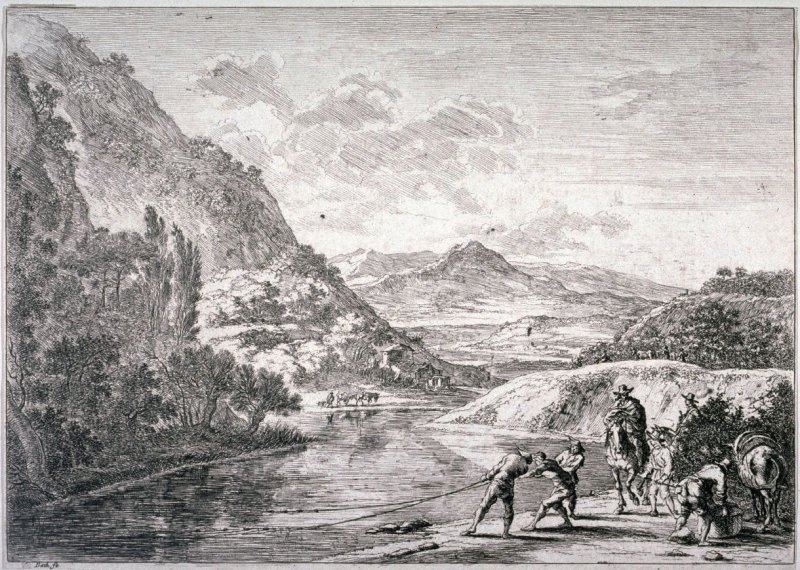 The Fishermen at the Tiber, near the Soracte, from the series Landscapes of the Environs of Rome