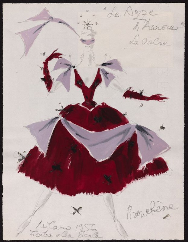 """Aurora's Wedding: costume sketch for female character in """"The Waltz"""""""