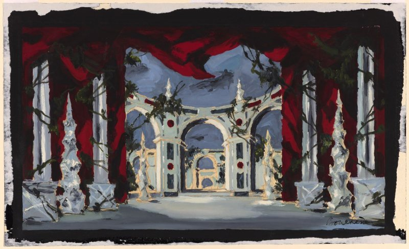 Variant setting for the ballet, Aurora's Wedding, as performed in 1956 at La Scala, Milan