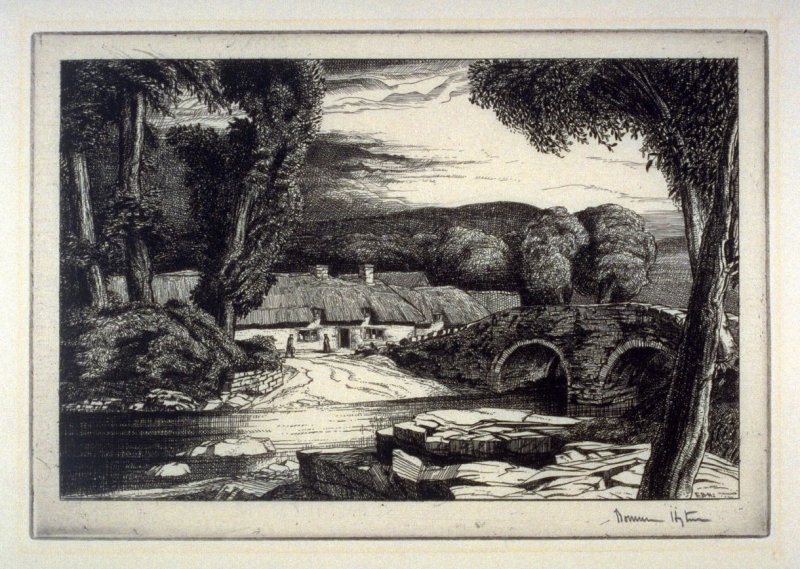 Cottages and Stone bridge on a River