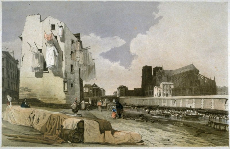 Plate 24: Notre Dame, Paris, from the Quai St. Bernard from the series 'Picturesque Architecture in Paris, Ghent, Antwerp, Rouen &c Drawn from Nature & on Stone'