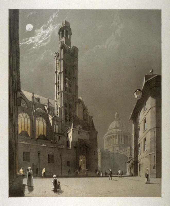 Plate 20: St. Etienne Du Mont and The Pantheon, Paris from the series 'Picturesque Architecture in Paris, Ghent, Antwerp, Rouen &c Drawn from Nature & on Stone'