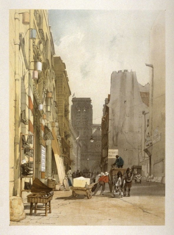 Plate 18: Rue Notre Dame, Paris from the series 'Picturesque Architecture in Paris, Ghent, Antwerp, Rouen &c Drawn from Nature & on Stone'