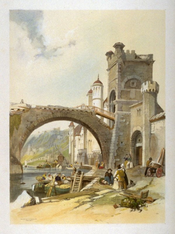 Plate 25: Bridge on the Moselle Coblentz, from 'Sketches on the Moselle, the Rhine & the Meuse' (London, Hodgson & Graves, 1838)