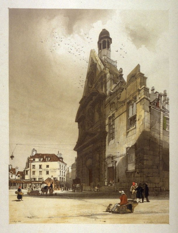 Plate 19: The Church of St. Etienne Du Mont, Paris from the series 'Picturesque Architecture in Paris, Ghent, Antwerp, Rouen &c Drawn from Nature & on Stone'