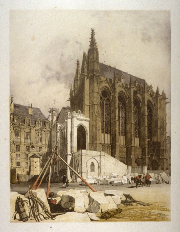 Plate 17: La Sainte Chapelle, Paris from the series 'Picturesque Architecture in Paris, Ghent, Antwerp, Rouen &c Drawn from Nature & on Stone'